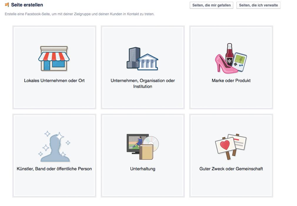 Facebook-Fanpage Auswahl Kategorien
