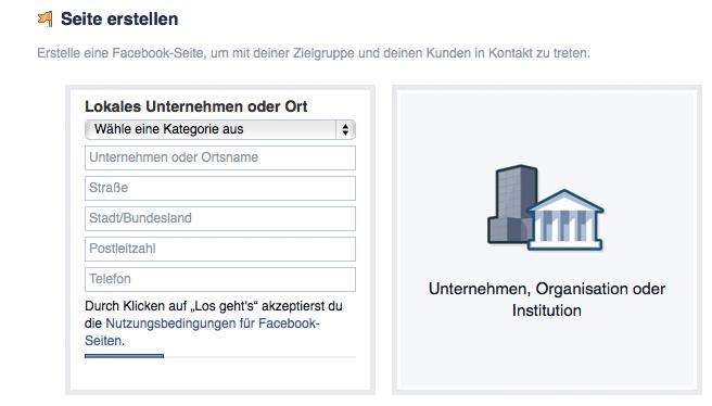 Facebook-Page lokaler Ort